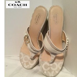 Coach Gypsy sandals size 9B white/cream wedge heel